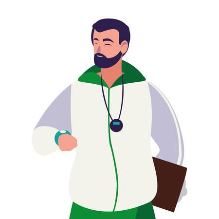 Profesor de deportes avatar ilustración Vectorial character design Ilustración de vector
