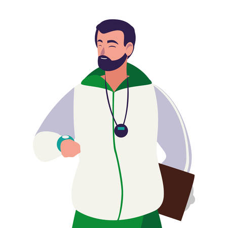 sportleraar avatar karakter vector illustratie ontwerp Vector Illustratie