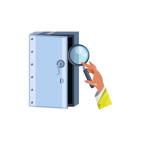 hand with magnifying glass and security door vector illustration design Ilustrace