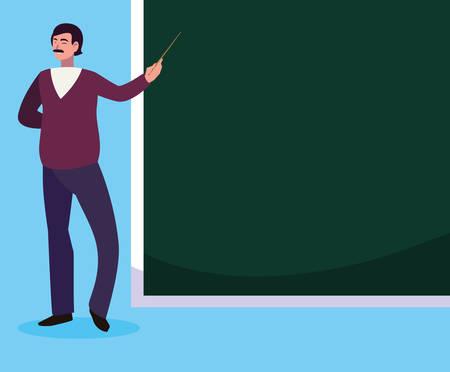 teacher male with chalkboard character vector illustration design Ilustração