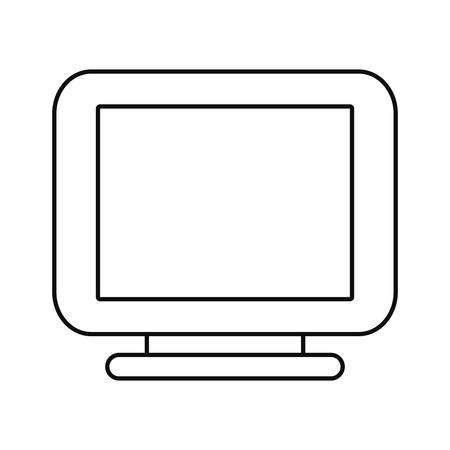 computer monitor on white background vector illustration outline Ilustração