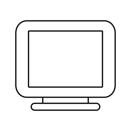 computer monitor on white background vector illustration outline Illustration