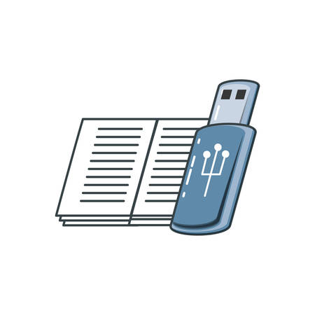 usb memory with book vector illustration design