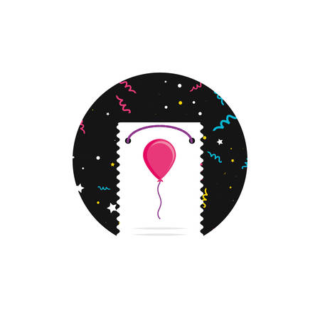 happy birthday card with balloon helium vector illustration design Фото со стока - 122603379
