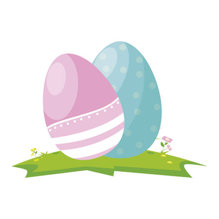 happy easter eggs painted vector illustration design Illustration