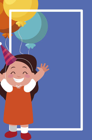 cute happy girl with birthday balloons helium vector illustration design Иллюстрация