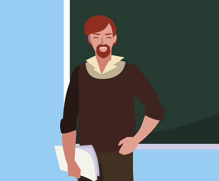 teacher male with documents and chalkboard vector illustration design Vectores