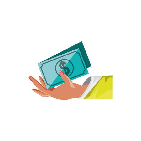 hand with bill dollar isolated icon vector illustration design Illustration