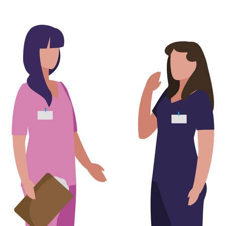 female medicine worker with uniform and documents vector illustration design Illustration