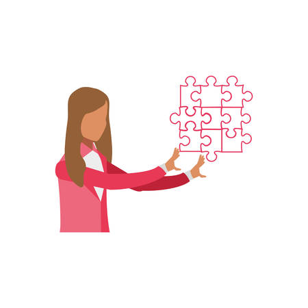 business woman with puzzle pieces vector illustration design Illustration