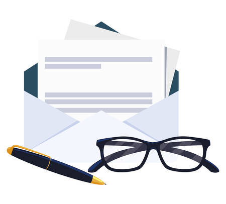 envelope mail with eyeglasses and pen vector illustration design Illusztráció