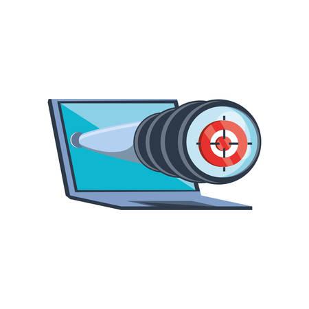 laptop with telescope icon vector illustration design Ilustrace