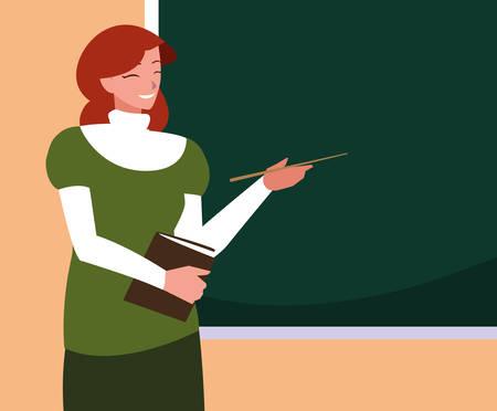 teacher female with chalkboard and book vector illustration design 向量圖像