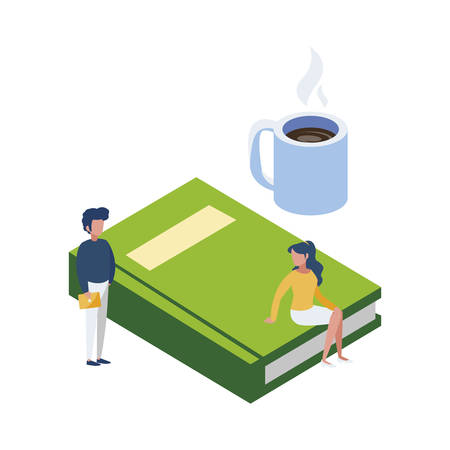 text book with minipeople workers vector illustration design Çizim