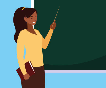 teacher female black with chalkboard and book vector illustration design