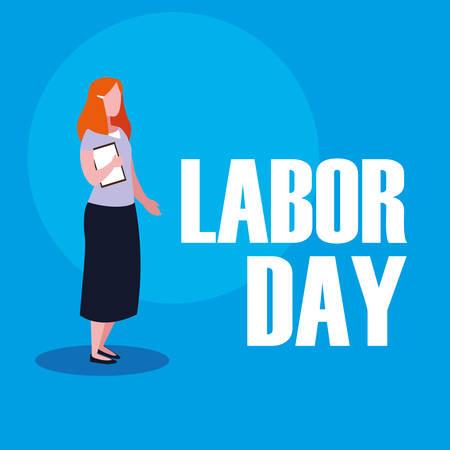 labour day celebration with teacher woman vector illustration design