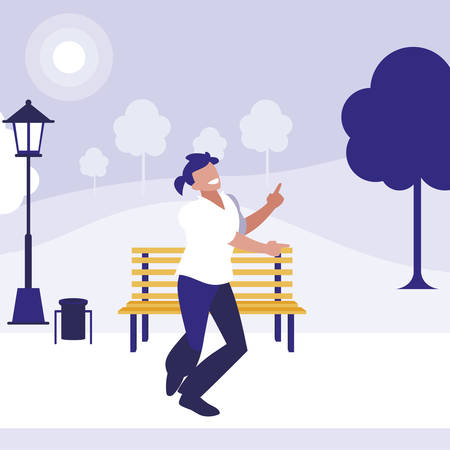 young dancer disco style in the park vector illustration design Ilustrace