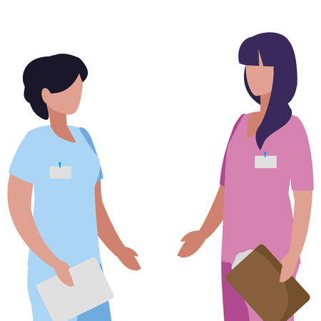 female medicine worker with uniform and documents vector illustration design Stock Illustratie