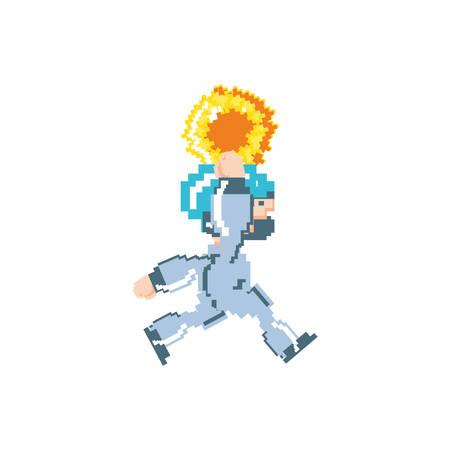 video game jumping avatar pixelated vector illustration design