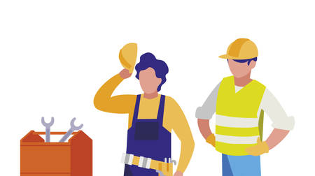 couple of men builders working with toolbox vector illustration design