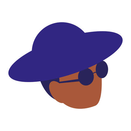 black musician jazz head with hat and sunglasses vector illustration design