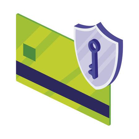 credit card with shield vector illustration design Ilustrace