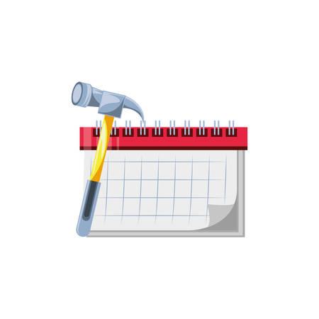 calendar reminder with hammer tool vector illustration design