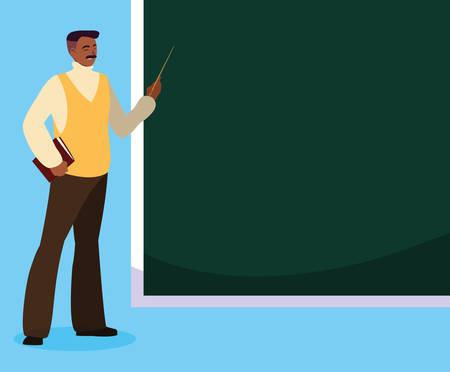 black teacher with chalkboard vector illustration design  イラスト・ベクター素材
