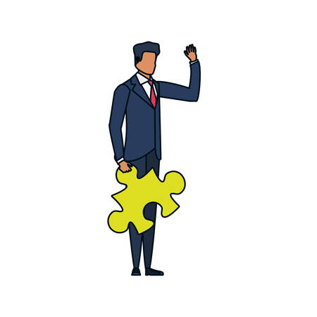 businessman with puzzle piece isolated icon vector illustration design Ilustrace
