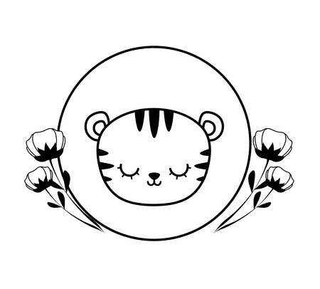 head of cute tiger in frame circular with flowers vector illustration design