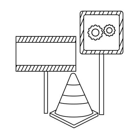 cone with signage in sticks vector illustration design Illustration