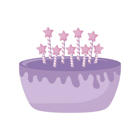 sweet cake with candles isolated icon vector illustration design Illusztráció