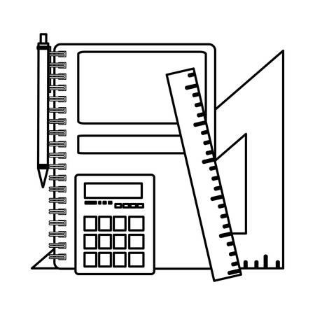 school notebook with set items vector illustration design Vektoros illusztráció
