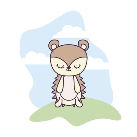 cute porcupine animal in landscape scene vector illustration design Ilustrace