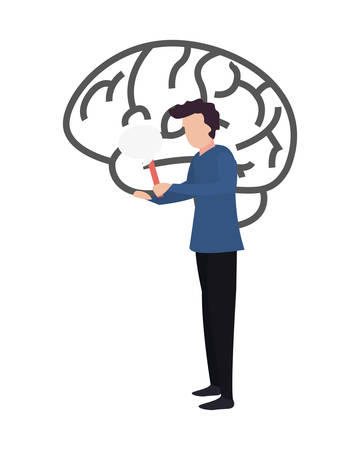 trivia night - man holding speech bubble brain vector illustration