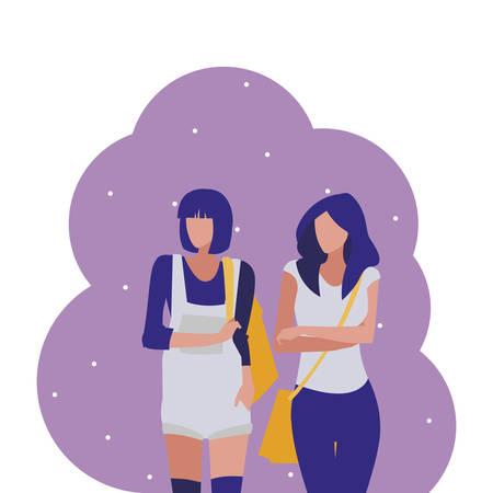 young girls students modeling vector illustration design