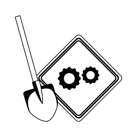 signaling with gears and shovel isolated icon vector illustration design