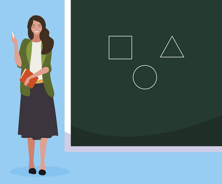 female teacher with textbook and chalkboard vector illustration design Illustration