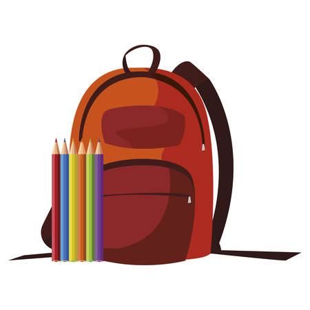 school bag with colors pencils vector illustration design
