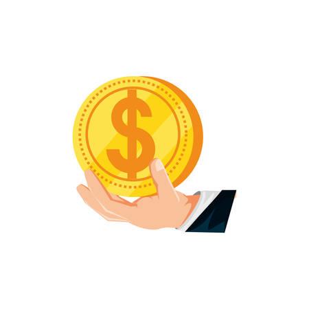 hand with coin dollar isolated icon vector illustration design Ilustração