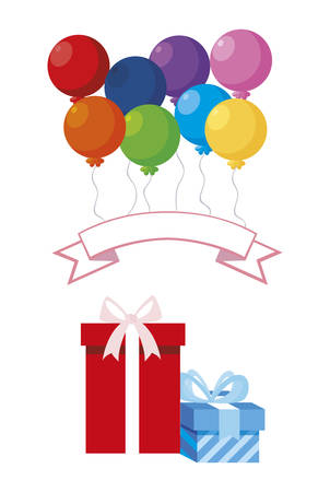 gift box present with balloons helium vector illustration design Фото со стока - 122605950