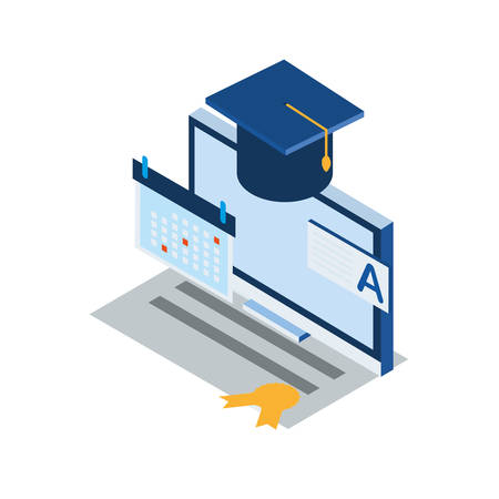 laptop computer with graduation hat vector illustration design
