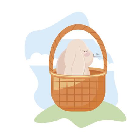 cute rabbit with basket wicker in grass vector illustration design
