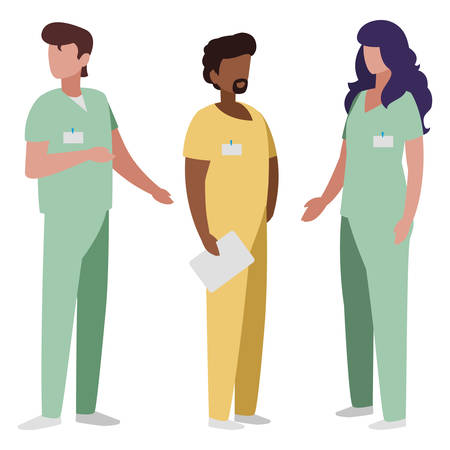 interracial group medicine workers with uniform characters vector illustration design Stok Fotoğraf - 122605964