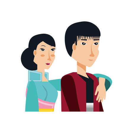 chinese couple hugging avatar character vector illustration design