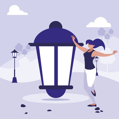 young woman dancing in the park character vector illustration design Illustration