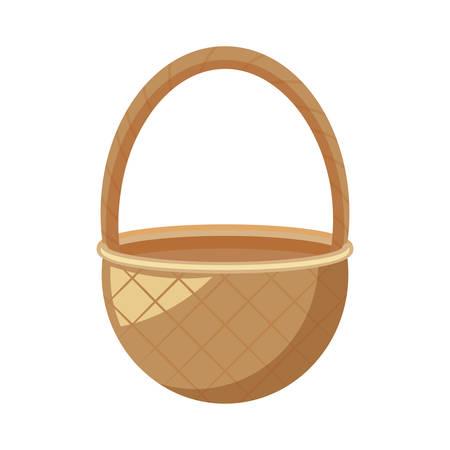 wicker basket isolated icon vector illustration design