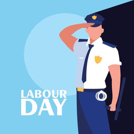 celebrazione della festa del lavoro con disegno di illustrazione vettoriale di polizia
