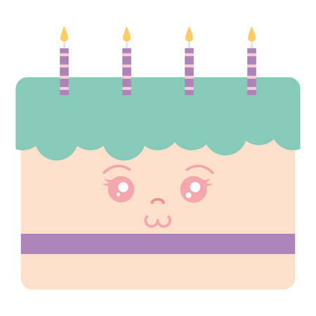 sweet birthday cake with candles vector illustration design Illustration