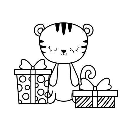 cute tiger animal with gift boxes vector illustration design Vectores